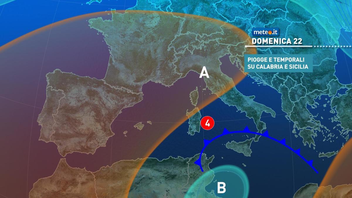 Meteo, domenica 22 novembre ad alto rischio nubifragi per il Sud