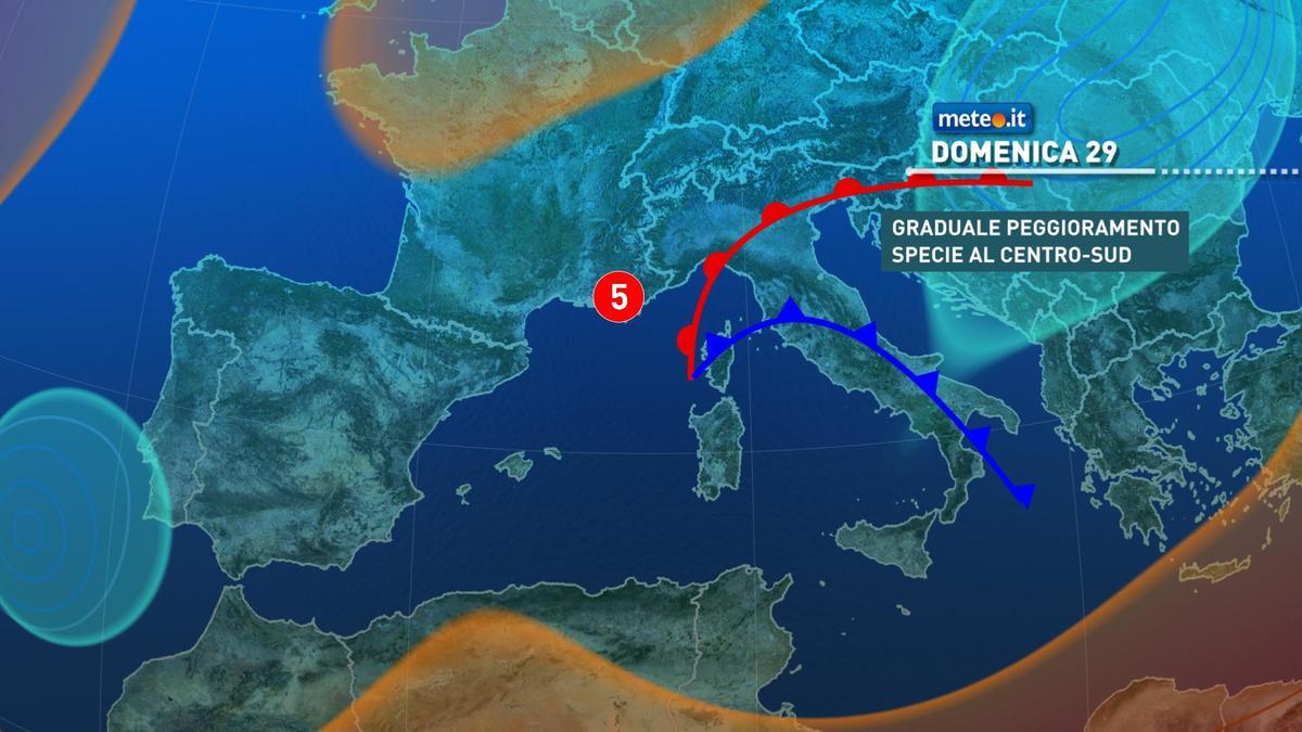 Meteo, domenica 29 novembre rischio di forte maltempo al Centro-sud
