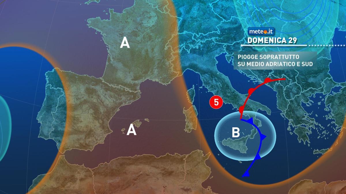 Meteo, domenica 29 novembre maltempo sul medio Adriatico e al Sud
