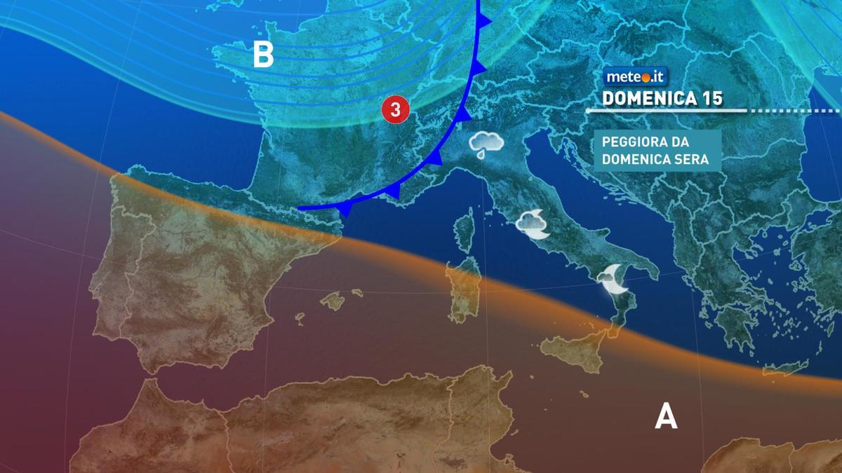 Meteo, dalla sera di domenica 15 novembre torna il rischio pioggia