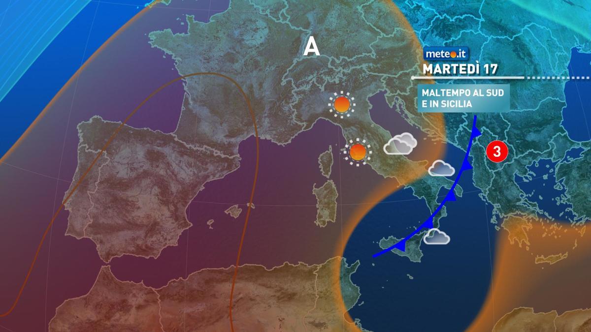 Meteo, martedì 17 novembre con maltempo al Sud