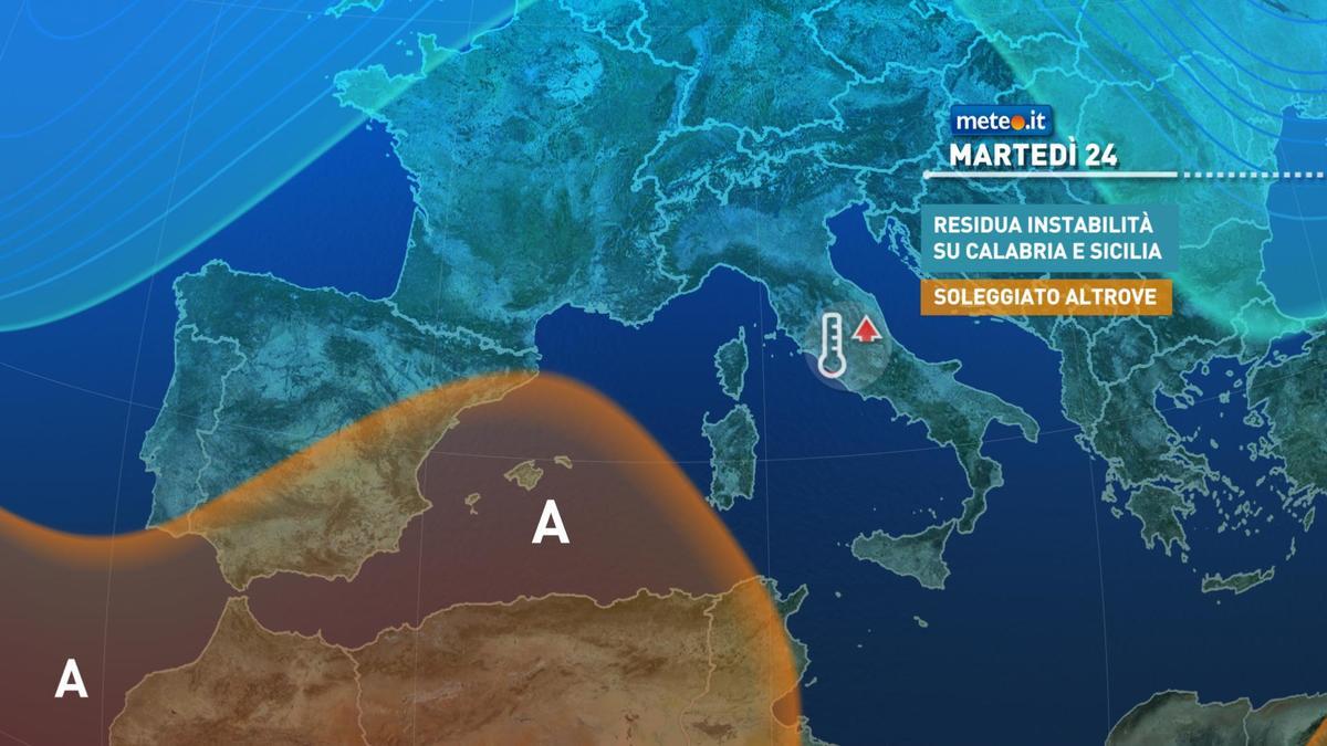 Meteo, tra il 24 e il 26 novembre anticiclone protagonista quasi ovunque