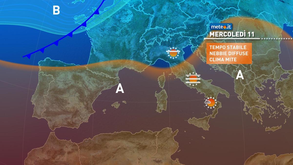 Meteo: mercoledì 11 novembre con tempo stabile, poi arriva qualche pioggia