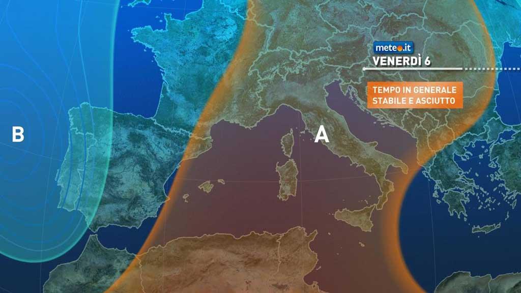 Meteo, alta pressione stabile sull'Italia anche nel weekend del 7-8 novembre