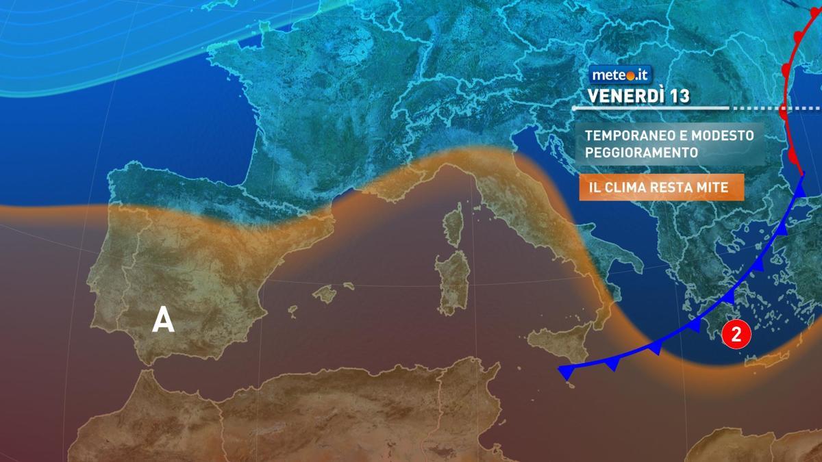 Meteo, venerdì 13 novembre qualche pioggia sulle regioni tirreniche