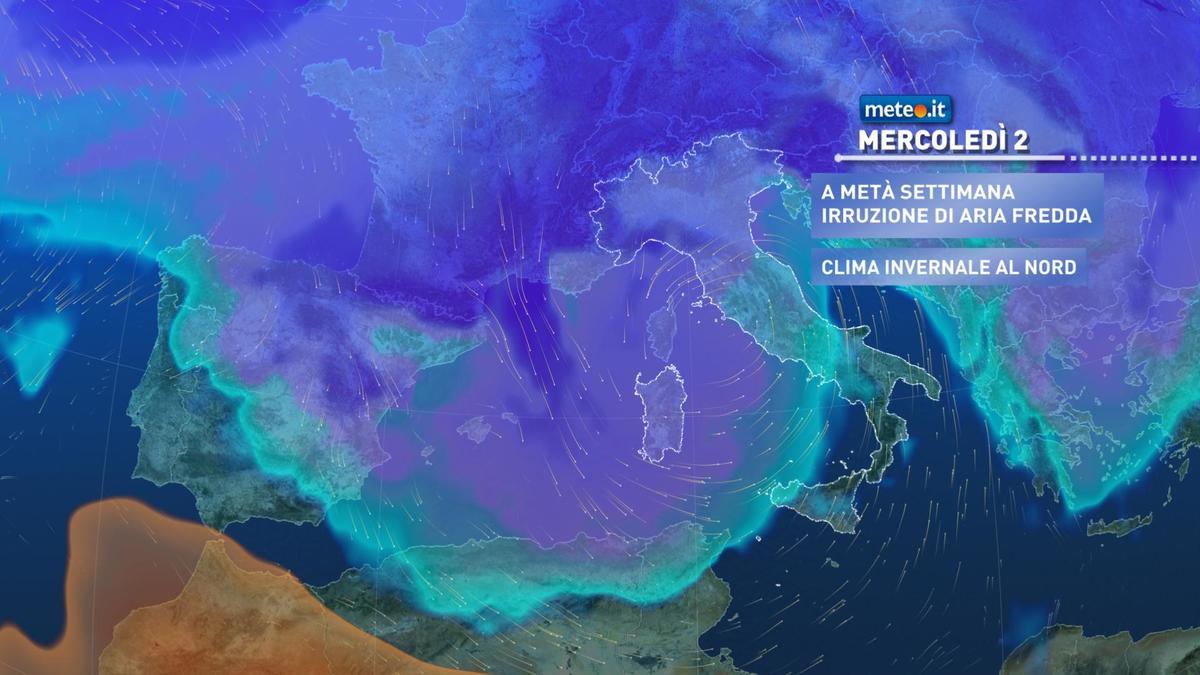 Meteo, dal 2 dicembre clima più invernale e neve a bassa quota