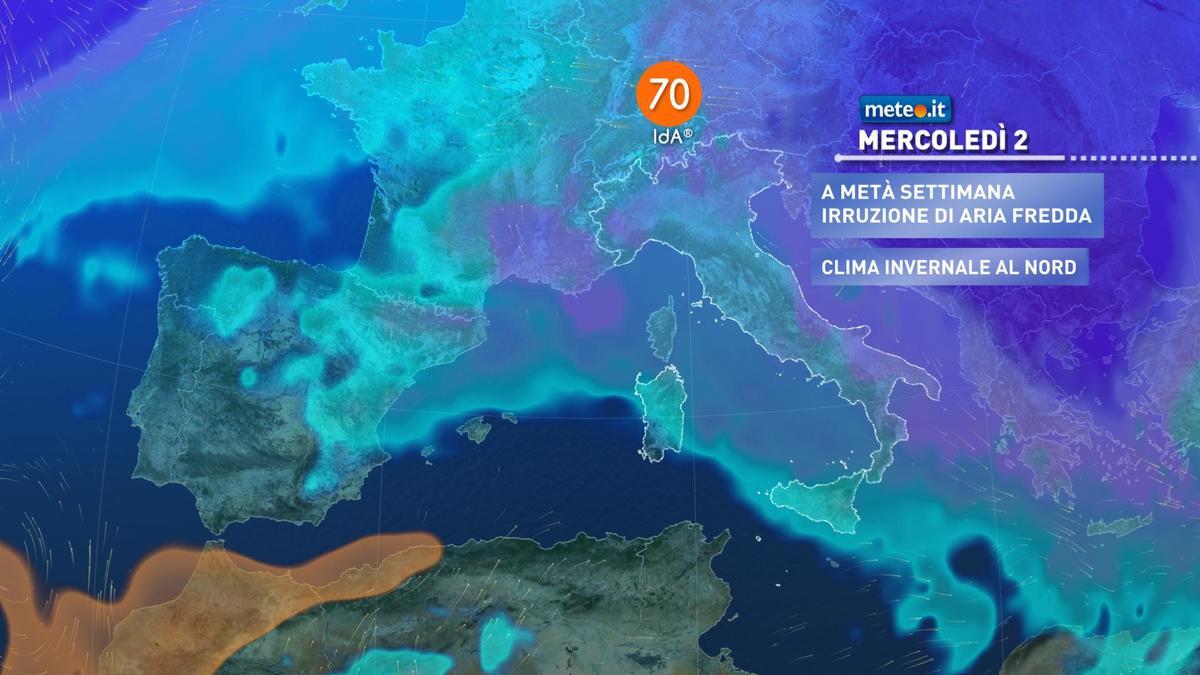 Meteo, da mercoledì 2 dicembre freddo in aumento e rischio neve