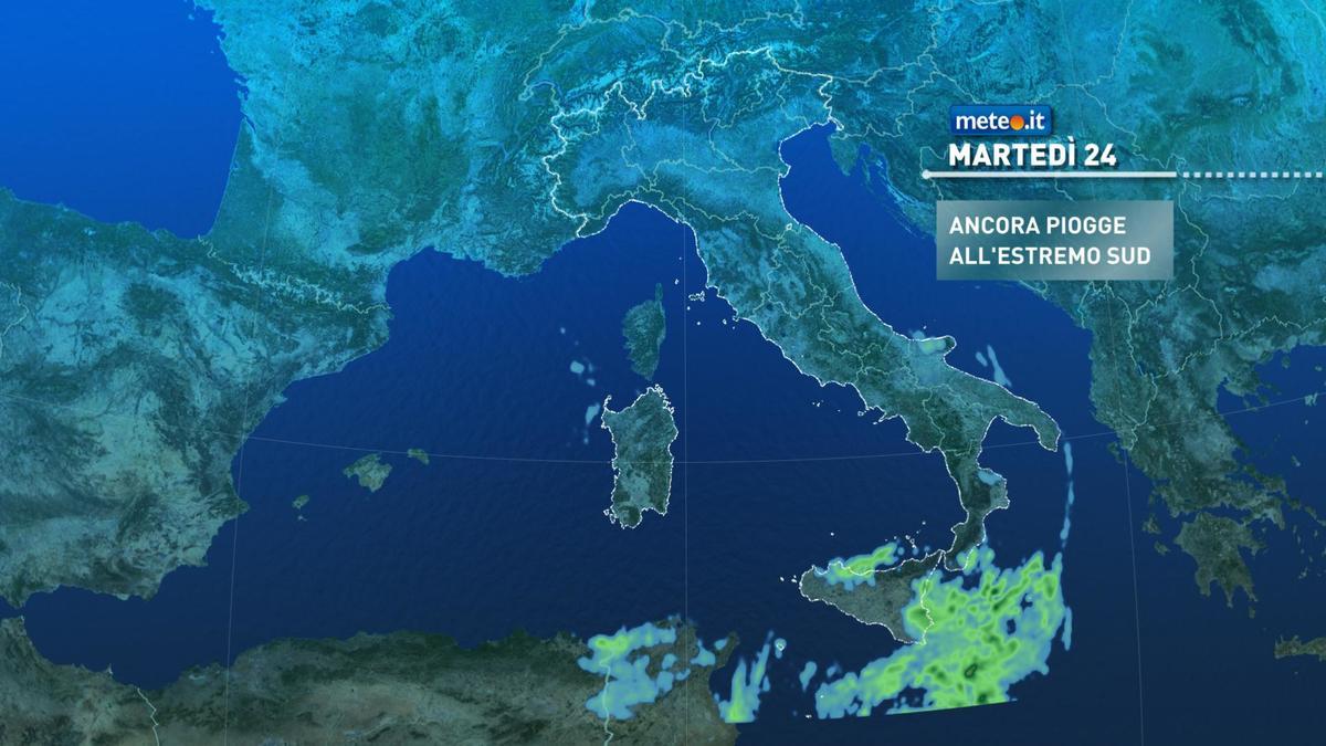 Meteo, fino a mercoledì 25 novembre tempo instabile all'estremo Sud
