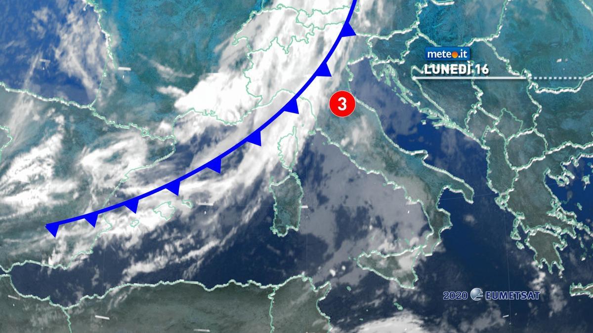 Meteo, lunedì 16 novembre con maltempo in molte regioni