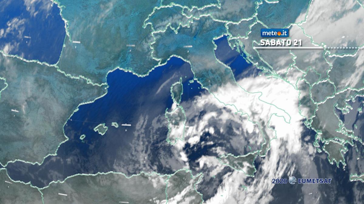 Meteo, sabato 21 novembre con forte maltempo al Sud