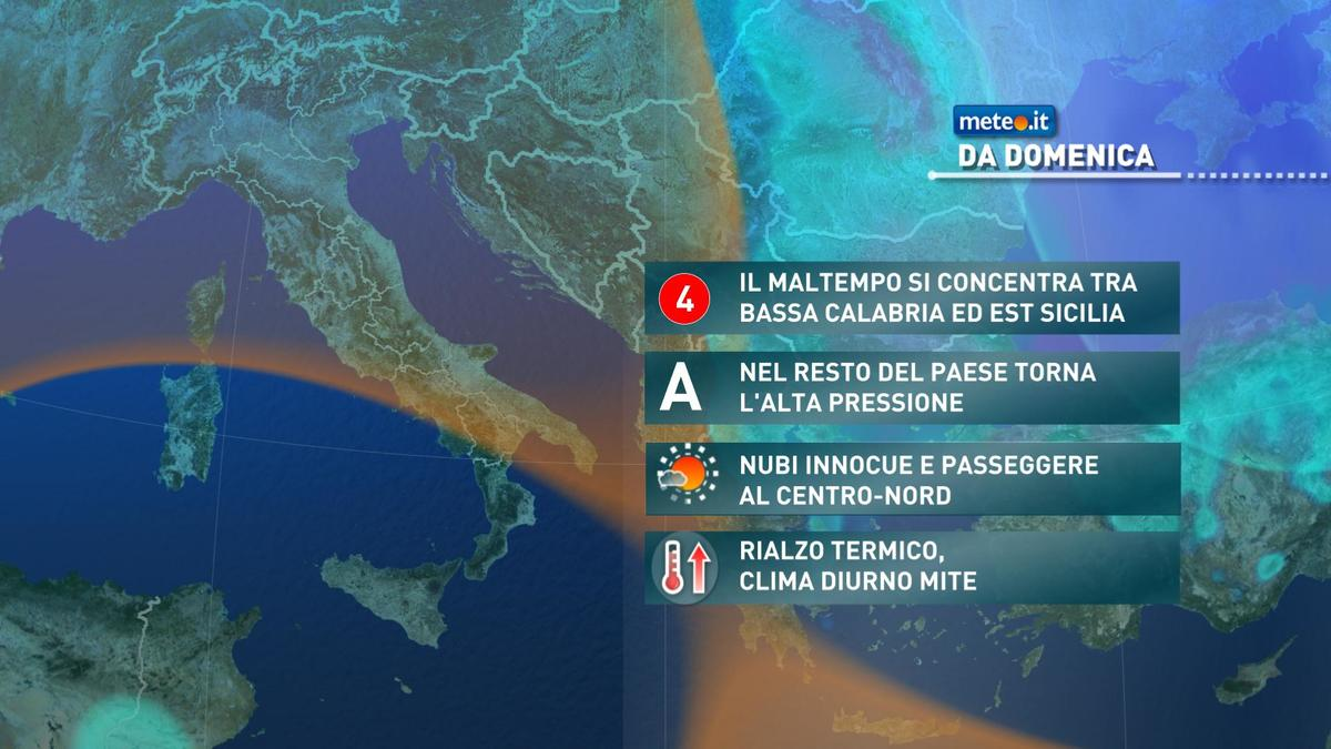 Meteo, sabato 21 novembre ancora maltempo al Sud