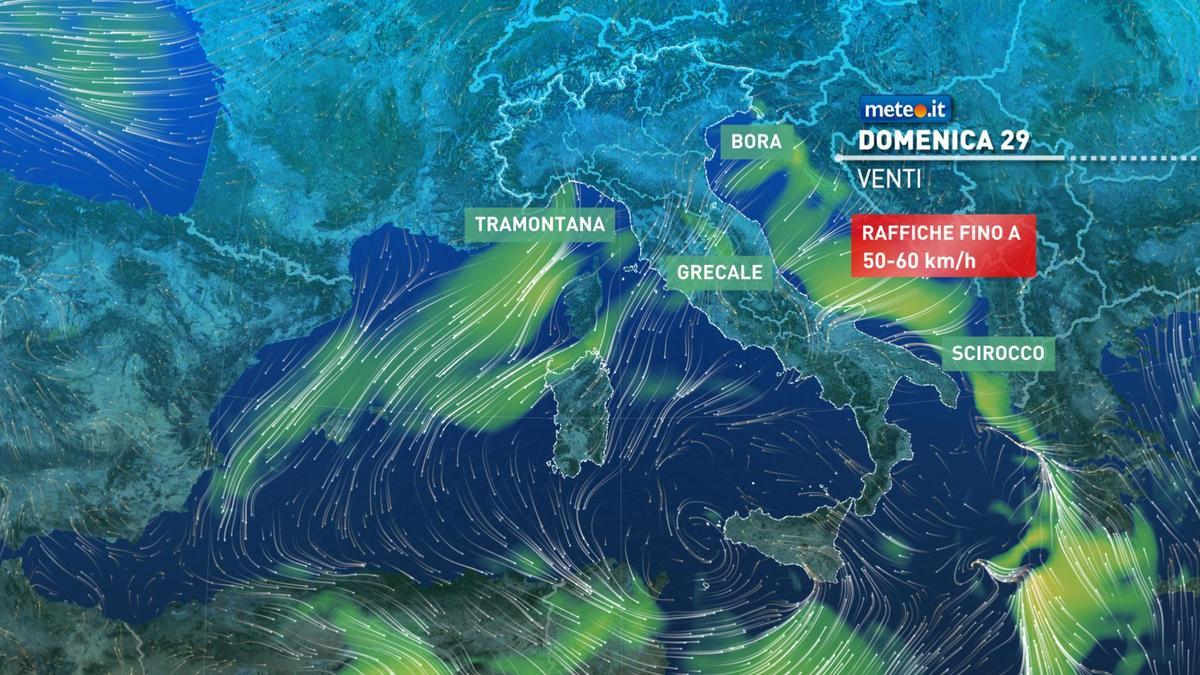 Meteo, oggi domenica 29 novembre, piogge sul medio Adriatico e al Sud