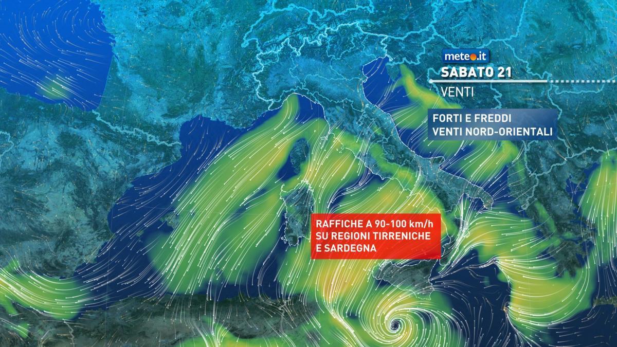 Meteo, weekend 21-22 novembre con temporali al Sud e venti molto forti