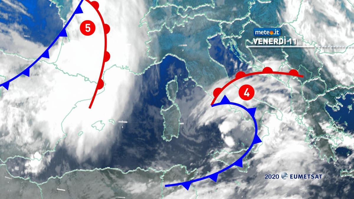 Meteo, da venerdì 11 dicembre nuove piogge sull'Italia per l'arrivo di due perturbazioni