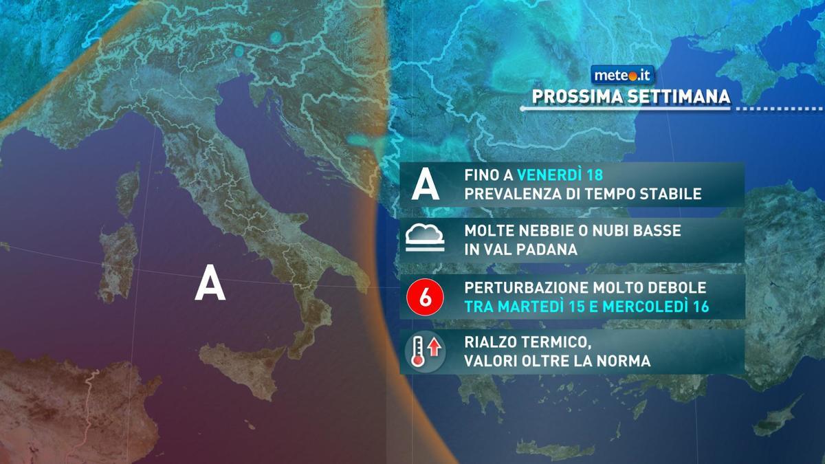 Meteo, martedì 15 dicembre debolissima perturbazione al Nord-Ovest