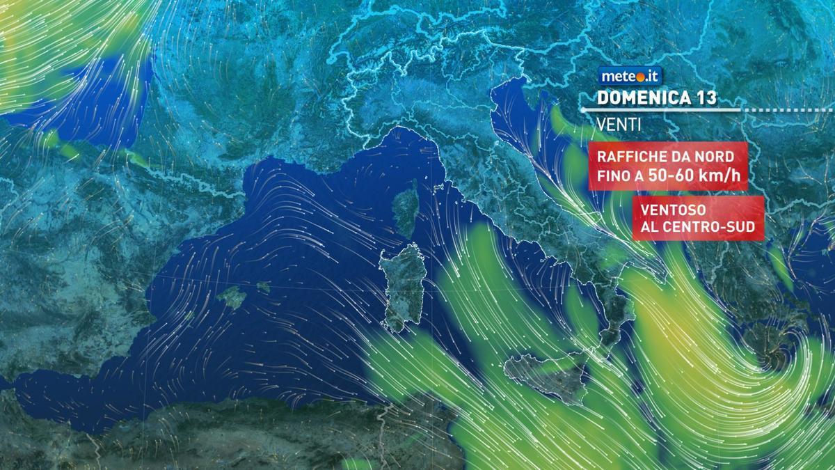 Meteo, oggi domenica 13 dicembre, ultime piogge sul medio Adriatico e al Sud