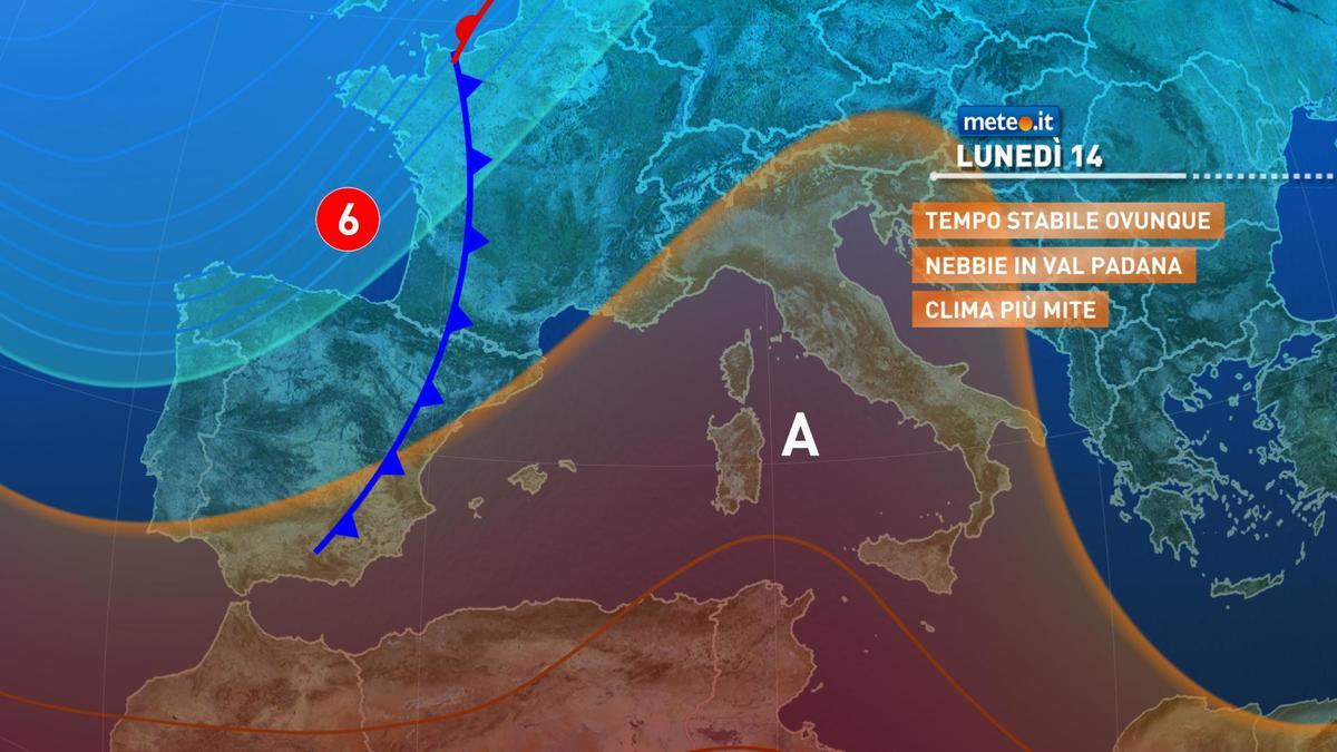 Meteo, lunedì 14 dicembre promontorio di alta pressione in rinforzo