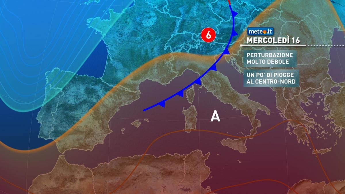 Meteo, tra martedì 15 e mercoledì 16 dicembre una debole perturbazione riporta un po' di pioggia