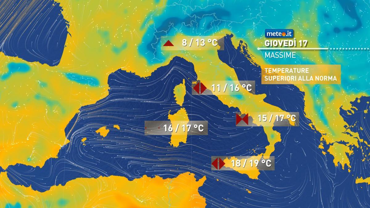 Meteo, giovedì 17 dicembre fase stabile e temperature sopra le medie