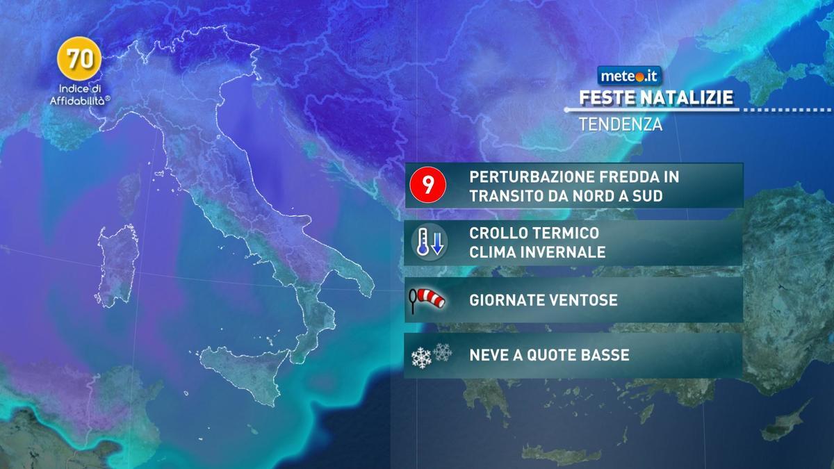 Meteo, fase di maltempo, freddo e neve per le feste di Natale