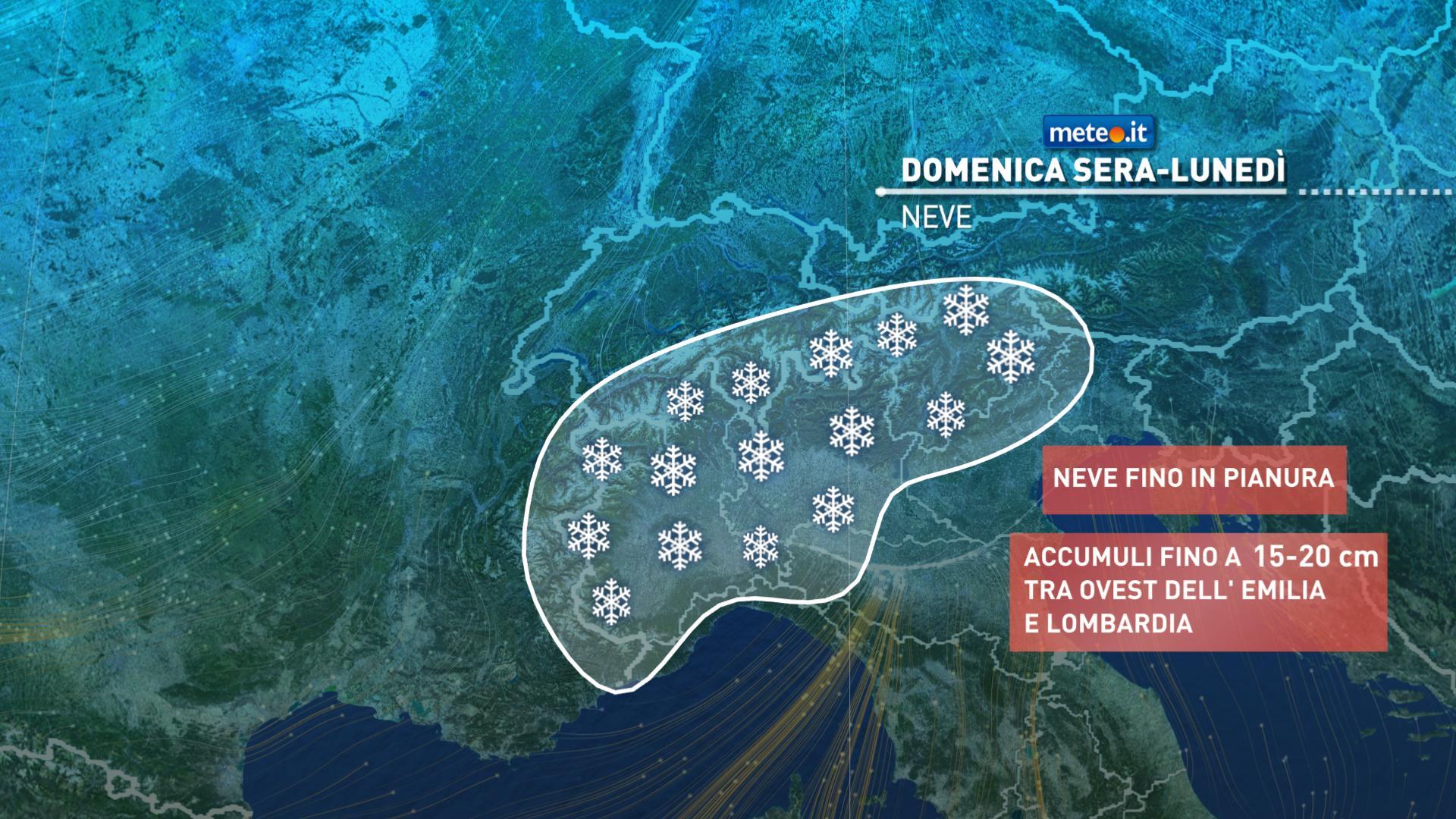 Meteo, lunedì 28 dicembre nevicate anche in pianura al Nord e piogge al Centro-Sud