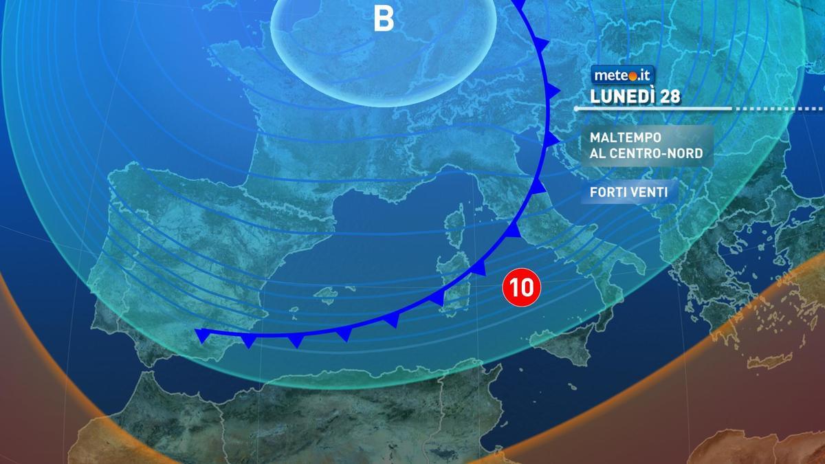 Meteo, lunedì 28 dicembre maltempo diffuso al Centro-Nord con forti piogge e nuove nevicate