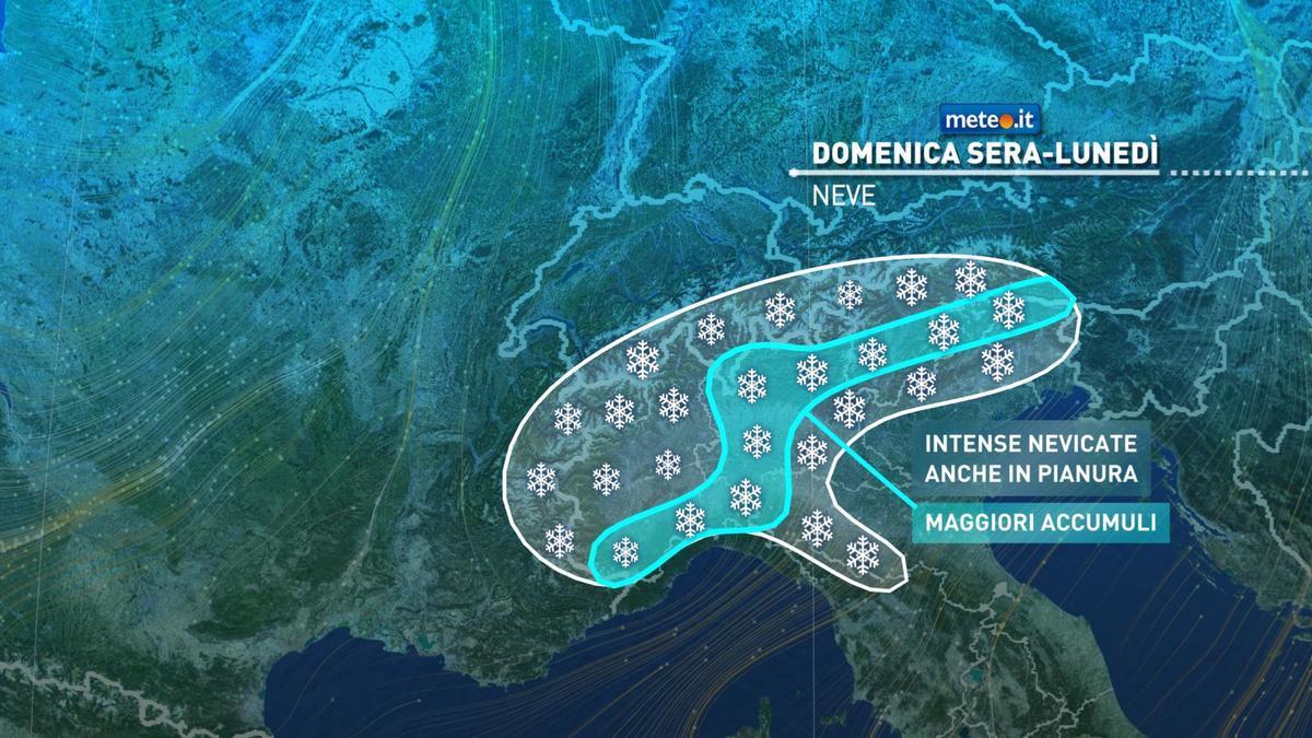 Meteo, domenica 27 dicembre neve in arrivo al Nord e maltempo al Centro-Sud