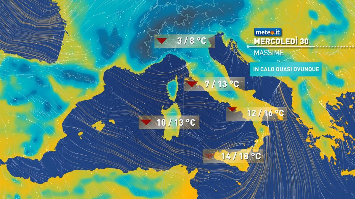 Meteo, 30 dicembre con rischio pioggia al Centro-sud