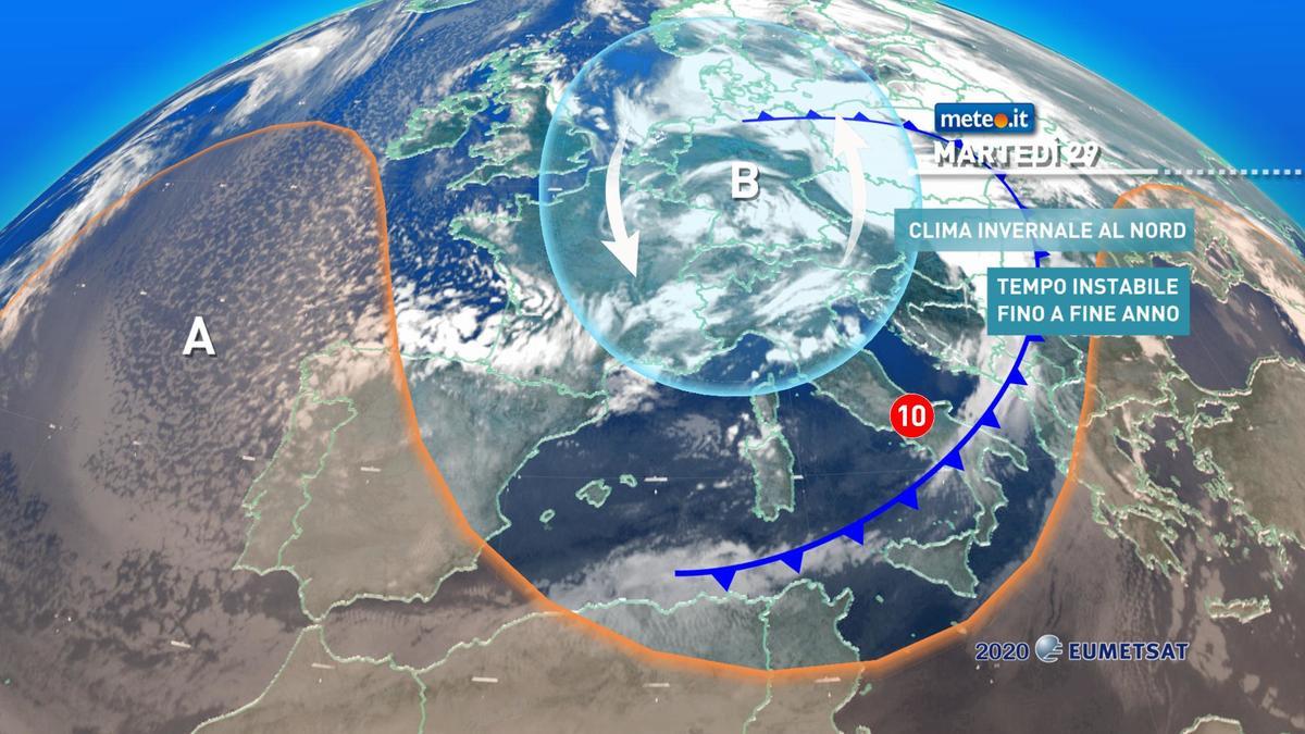 Meteo, 29 dicembre ancora molto instabile e ventoso