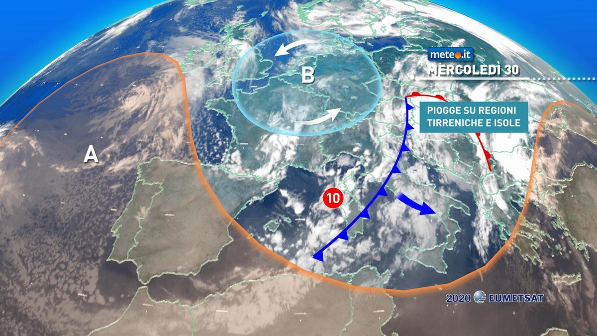 Meteo, 30 dicembre con piogge e temporali al Centro-sud