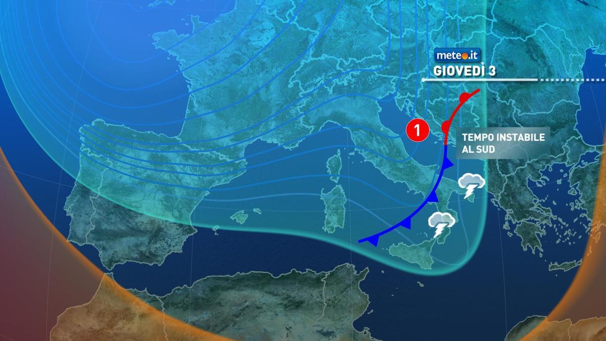 Meteo, giovedì 3 dicembre il maltempo si concentrerà al Sud