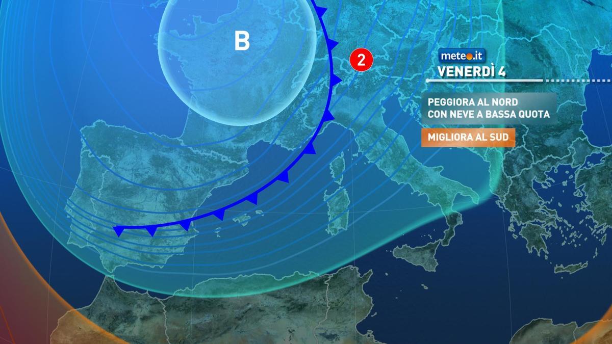 Meteo, forte fase di maltempo e neve da venerdì 4 dicembre