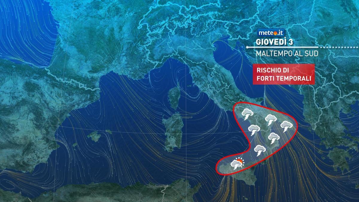 Meteo, oggi giovedì 3 dicembre, forti rovesci al Sud