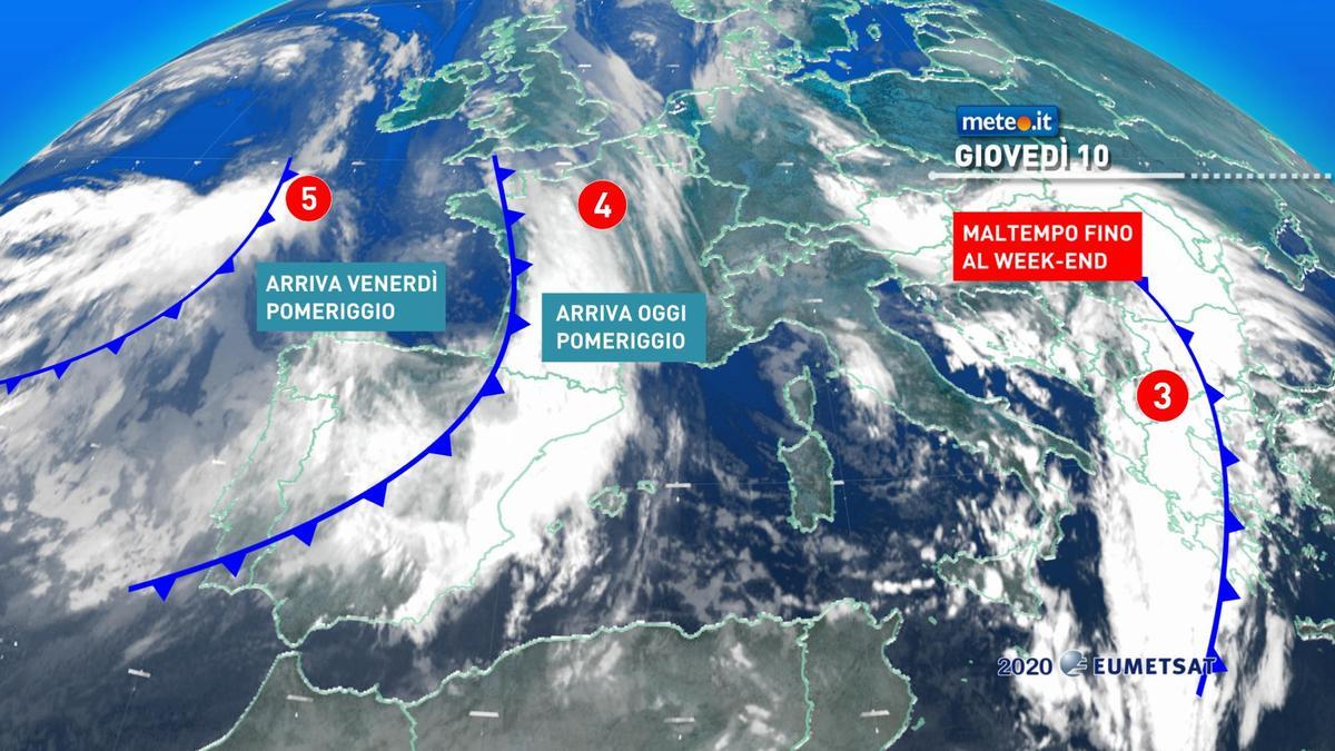 Meteo, nuove perturbazioni in arrivo sull'Italia entro il weekend del 12-13 dicembre