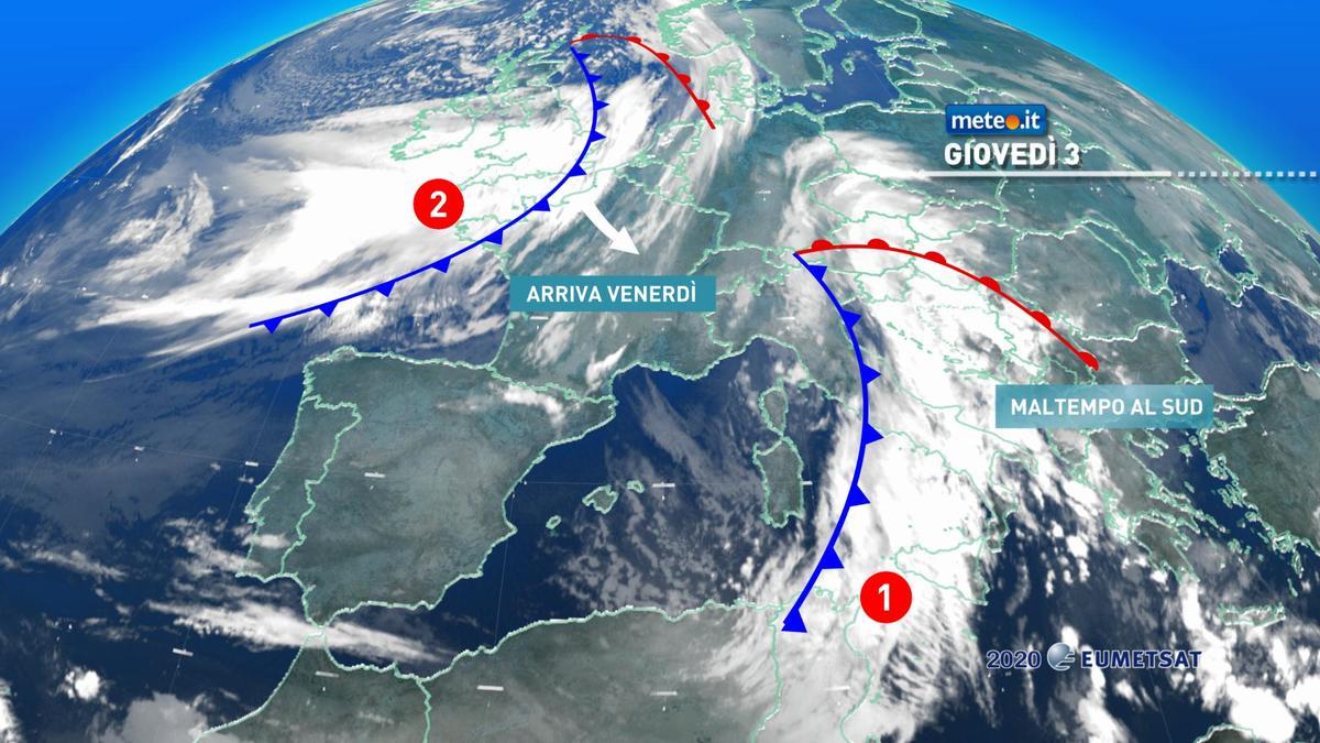 Meteo, forte maltempo al Sud. Venerdì 4 dicembre rischio neve al Nord-Ovest