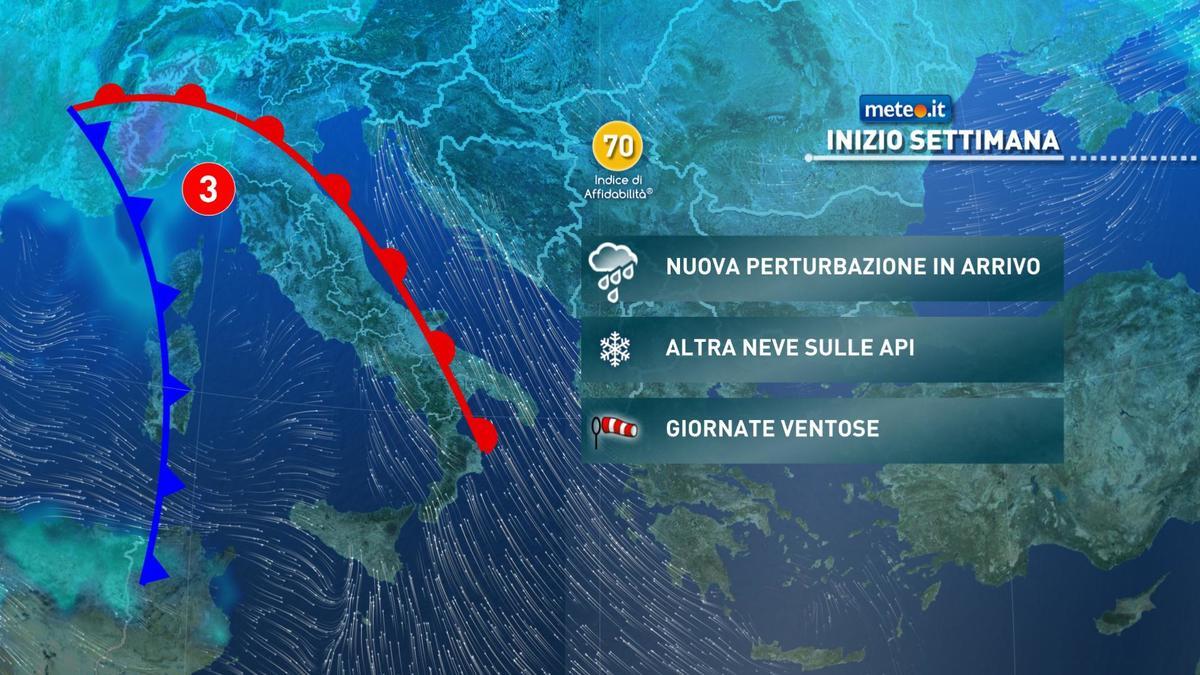 Meteo, lunedì 7 dicembre prosegue la fase di tempo instabile