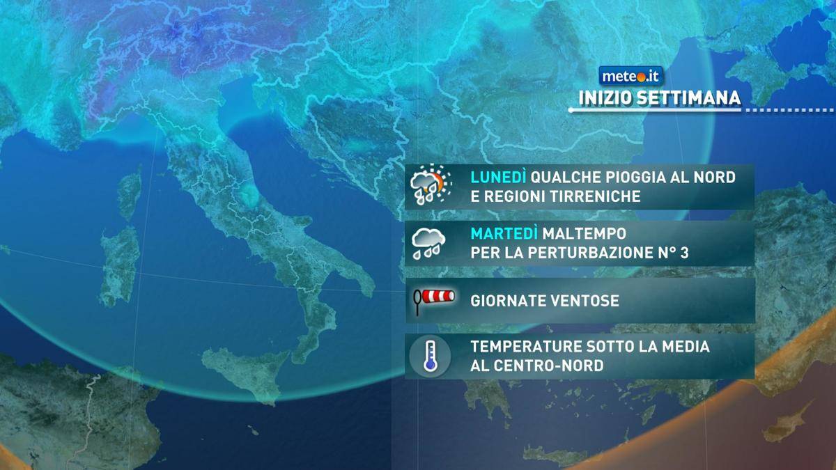 Meteo, lunedì 7 dicembre prosegue la fase di tempo instabile
