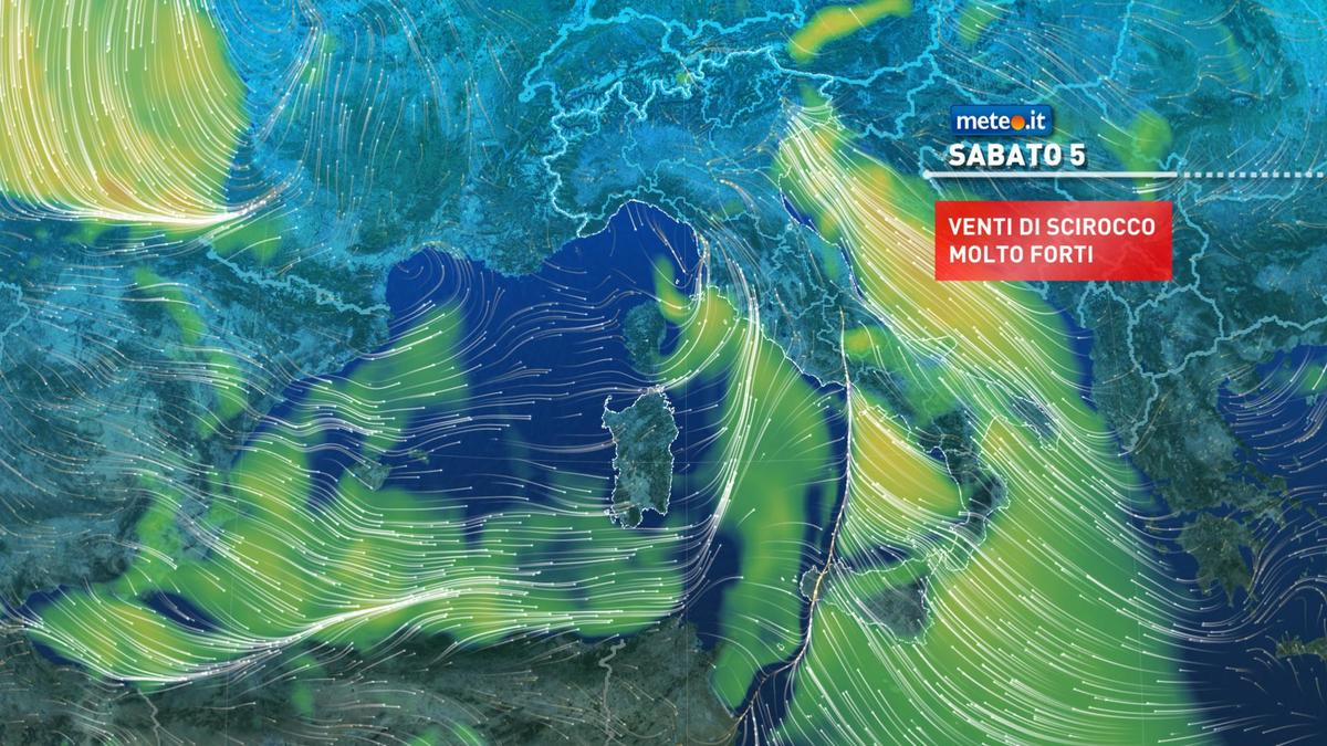 Meteo, oggi sabato 5 dicembre, piogge intense, nevicate in montagna e Scirocco