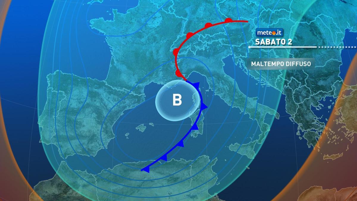 Meteo, 2 gennaio con piogge, vento e neve