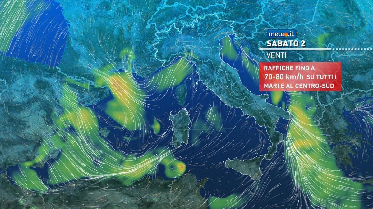 Meteo, sabato 2 gennaio maltempo e forti venti
