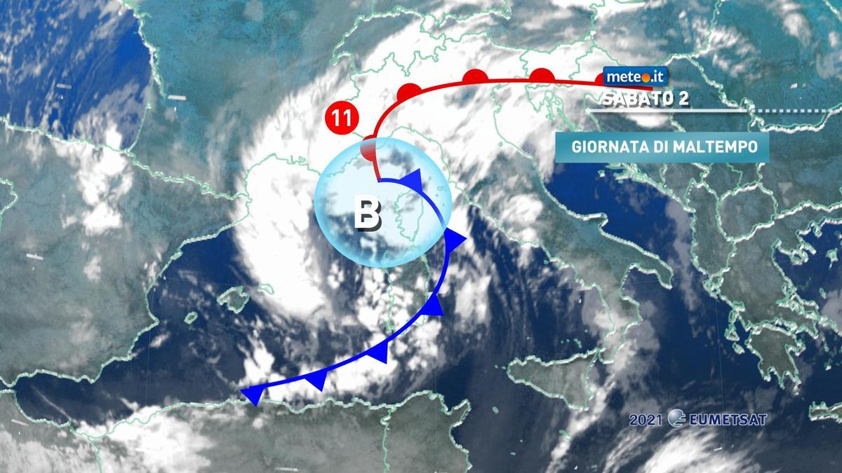 Meteo, sabato 2 gennaio rischio di forte maltempo sull'Italia