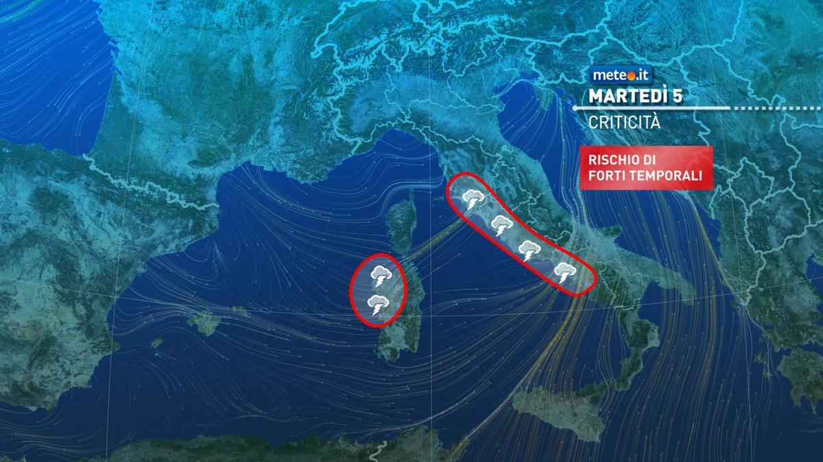 Meteo, oggi martedì 5 gennaio, forti piogge soprattutto sul Tirreno e nevicate