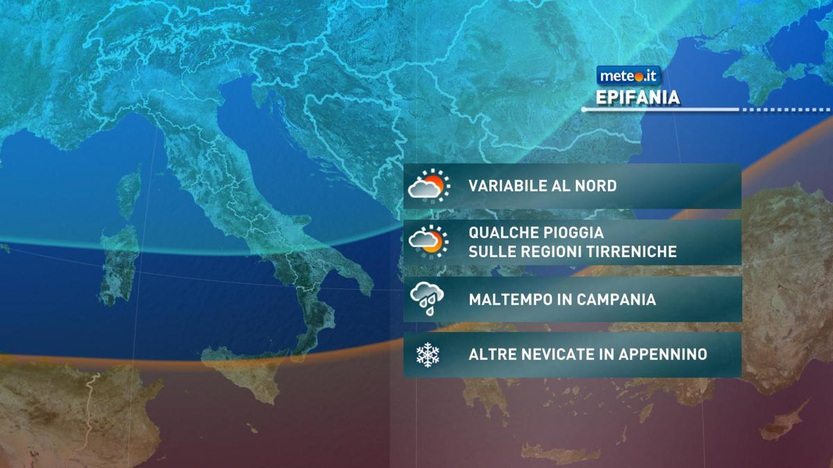 Meteo Epifania, tempo ancora instabile soprattutto al Centro-Sud