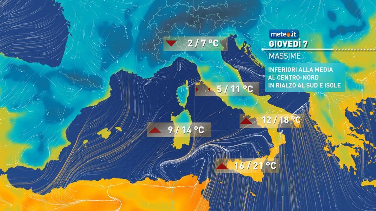 Meteo, tra giovedì 7 gennaio e venerdì nuova perturbazione proveniente dal Nord Africa