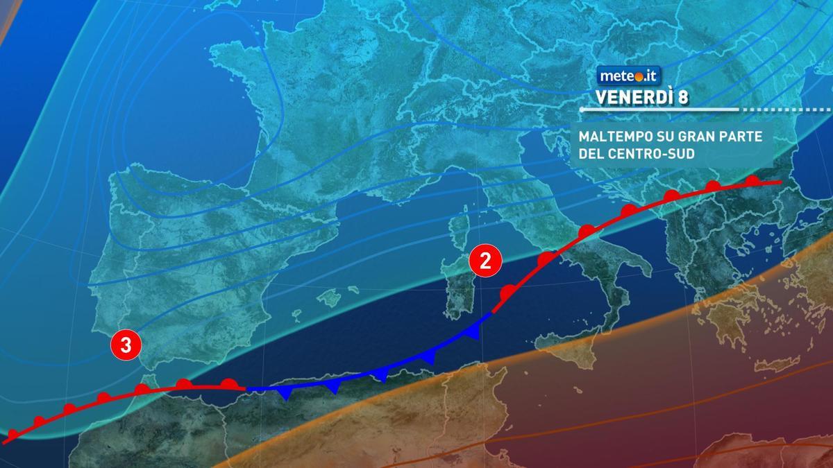 Meteo, venerdì 8 gennaio fase di maltempo al Centro-sud