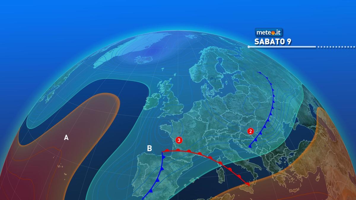 Meteo, weekend del 9-10 gennaio con maltempo al Centro-sud