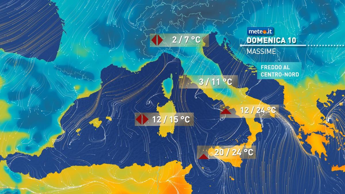 Meteo, domenica 10 gennaio maltempo al Centro-Sud. Italia divisa in due: freddo al Nord e clima mite al Sud