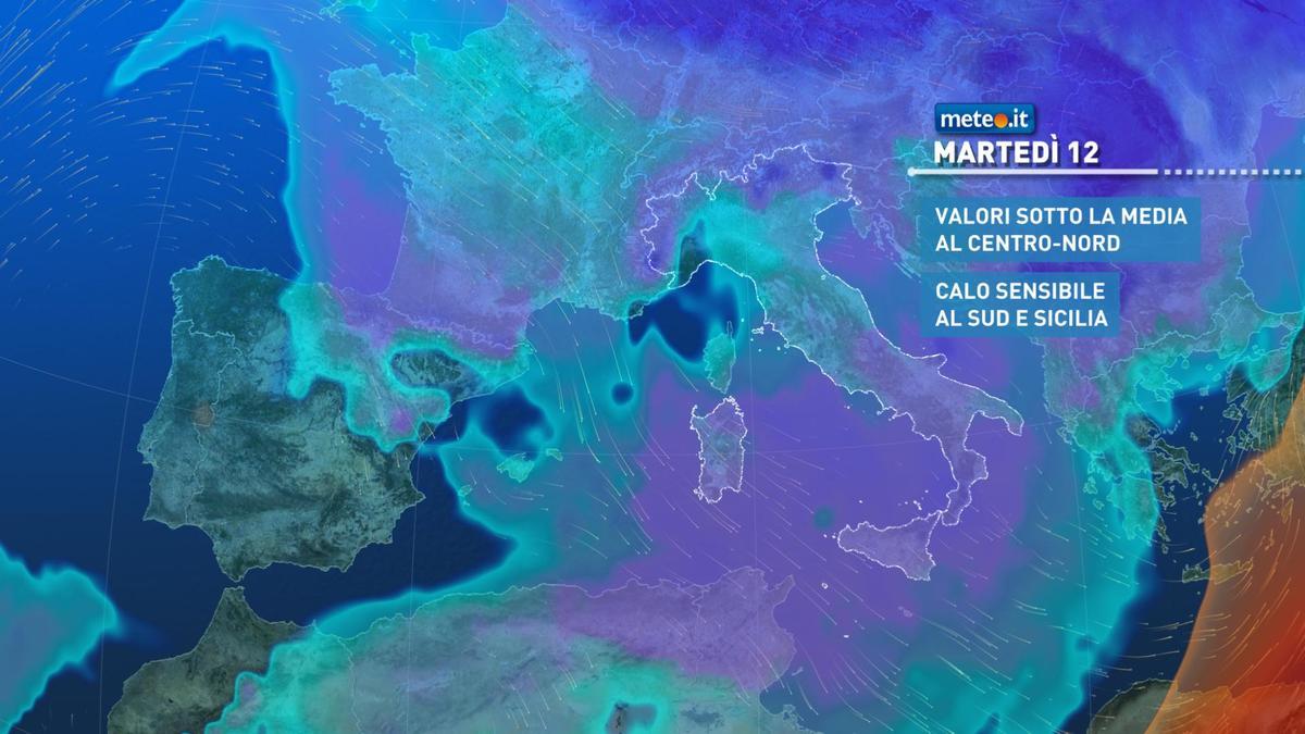 Meteo, martedì 12 gennaio clima freddo e temperature sotto le medie