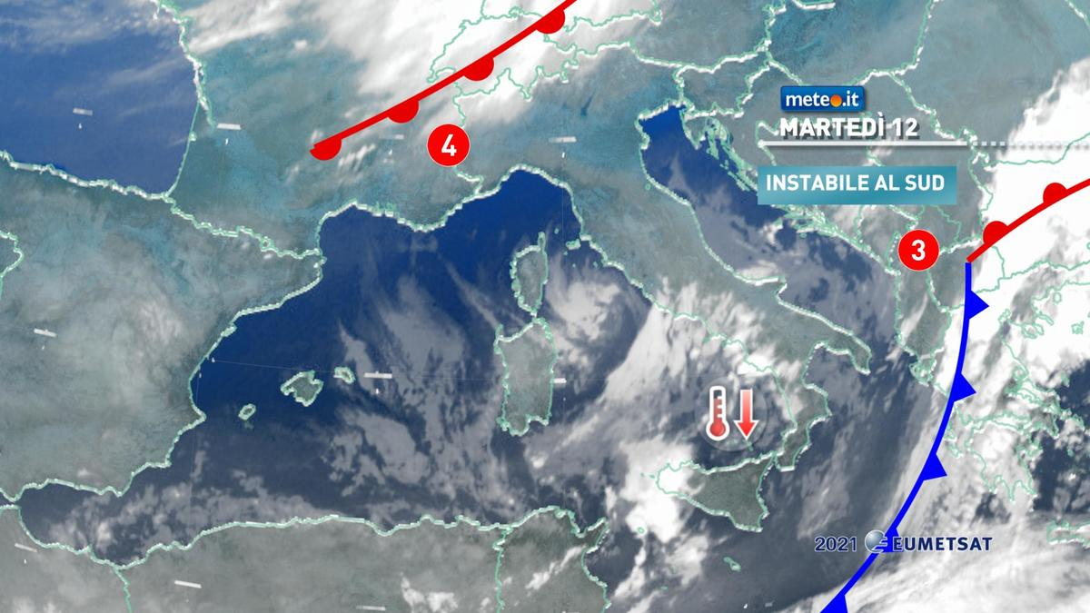 Meteo, martedì 12 gennaio freddo intenso e qualche precipitazione al Sud