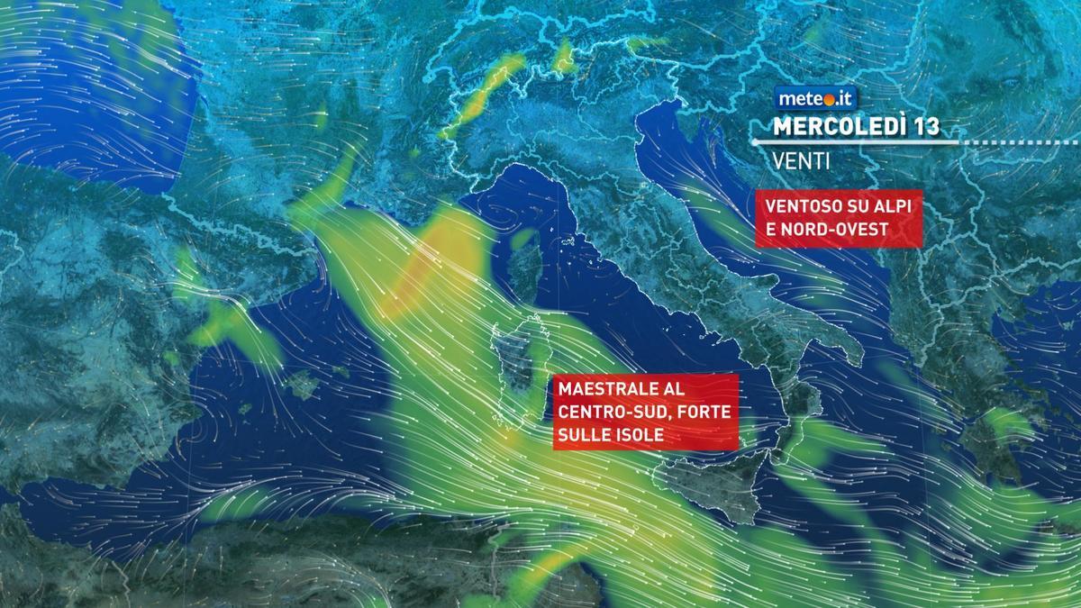 Meteo, oggi mercoledì 13 gennaio, breve rinforzo dell'alta pressione
